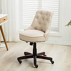 Amazon Com Belleze Office Chair Tufted Beige Mid Back