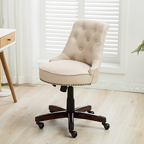 Brass Traditional Chair (Belleze Elegant Classic Button Tuft Adjustable Height Swivel and Tilt Nail Head Trim with Linen Caster Wheels, Beige)