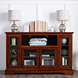 New 52'' Modern Highboy Style Rustic Brown Wood TV Stand Console w/ Glass