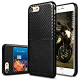 iPhone 8, 7 Case, Premium PU Leather Case with Credit Card Slot Holder, VIFLYKOO Pretty Texture Ultra Slim Lightweight Soft Back Cover Case (Black)