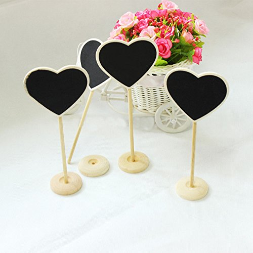 Saitec ® New hot New 12X DIY Mini Chalkboard Blackboards Signs On Stick Stand Place Holder Wedding Table Decoration Numbers Party Supplies]()