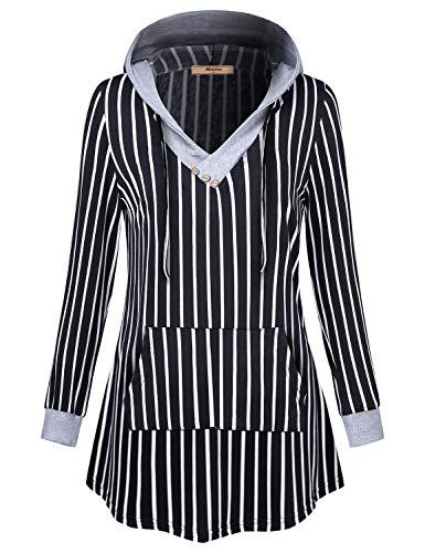 Miusey Sweatshirt Hoodie, Ladies Button V Neck Contrast Strings Black and White Pinstripe Roomy Oversized Hoody Pullover with Utility Pocket Cozy Soft Classy Knitting Top Black XXL