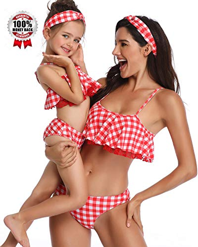 Swimsuits for Girls Women Bathing Suit Family Matching Swimsuits Mom and Daughter Swimwear Bikini Sets (Mom L, Red Plaid)