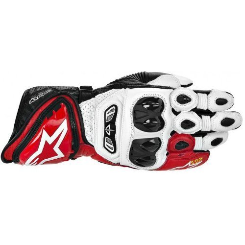 Alpinestars GP Tech Leather Gloves , Gender: Mens/Unisex, Primary Color: Red, Size: XL, Distinct Name: White/Red/Black, Apparel Material: Leather 3556613-231-XL by Alpinestars