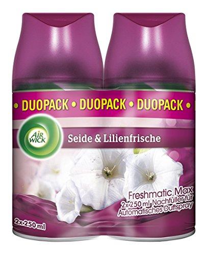 AirWick Freshmatic Max Automatisches Duftspray Nachfüller Seide und Lilienfrische, 2er Pack (2 x 250 ml)