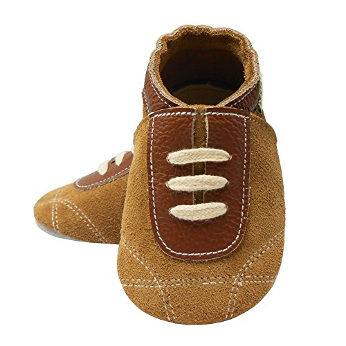 SAYOYO Baby Shoes Soft Sole Leather Dinosaur First Walk Shoes