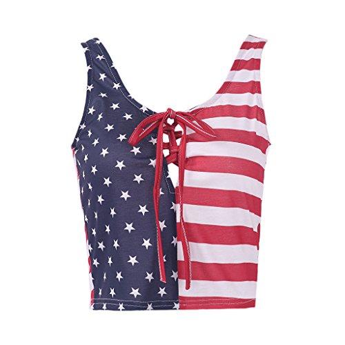 寝室回路そのようなPerfk カジュアル キャミソール タンクトップ ベスト 魅力女性 3Dアメリカの旗 無袖 軽量 快適 全5サイズ