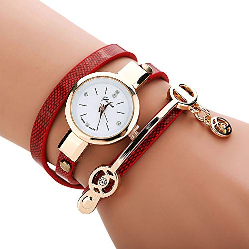 Fashion Women Metal Strap Watch Wrist Watch,Outsta Unisex Minimalist Style Watch (Red)