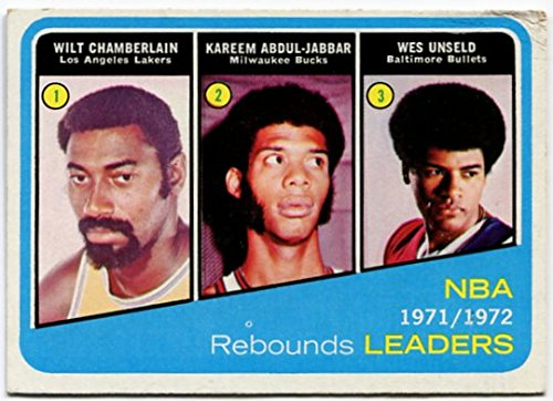 (1972/73 Topps Wilt Chamberlain Kareem Abdul-Jabbar Wes Unseld Rebounds Leaders Card #175 Los Angeles Lakers Milwaukee Bucks Baltimore Bullets)