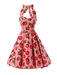Kisstyle Womens Strawberry Pattern Sleeveless V-Neck Vintage Dress As Picture