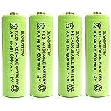 Pack of 4 x BuyaBattery UK AA Rechargeable Solar Light Batteries 600mAh 1.2V NiMH for Outdoor Garden Solar Lights