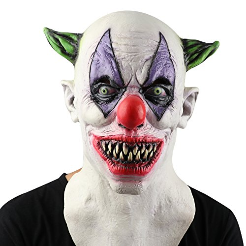 Circus Scary (Monstleo Latex Scary Halloween Clown Mask horror Circus Clown Full Head Mask)