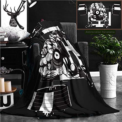 Nalagoo Unique Custom Flannel Blankets Illustration Bodybuilder Doing Exercise With Dumbbells For Biceps Super Soft Blanketry for Bed Couch, Throw Blanket 60