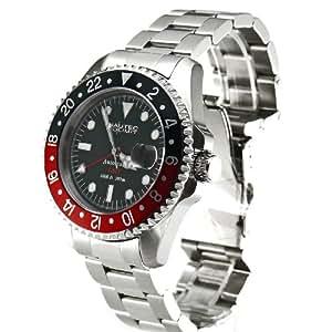 Nautec No Limit Deep Sea DS GMT/STRDBK - Reloj de caballero automático, correa de acero inoxidable color plata
