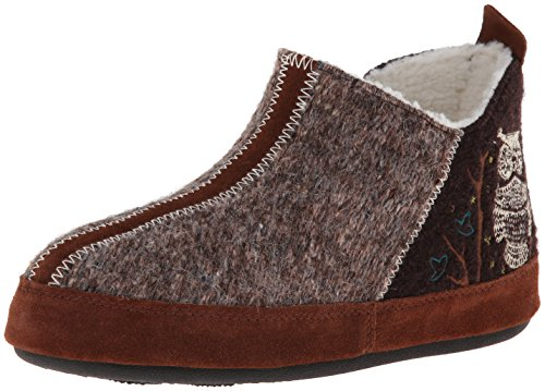 ACORN Women's Forest Bootie Slipper,Chocolate Owl,Large (8-9 M US) -