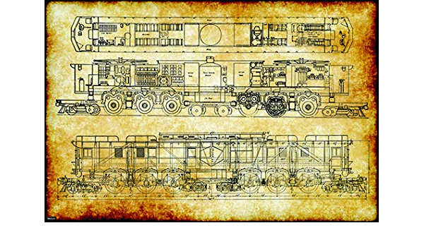Retro Vintage Train Engineering Technical Drawing Schematic Home Decor Print Poster 24x36 Posters Prints