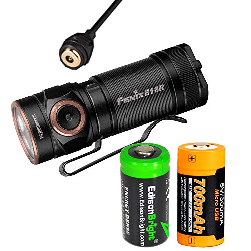 Fenix E18R 750 Lumen USB rechargeable CREE LED EDC/keychain Flashlight with EdisonBright back-up battery bundle