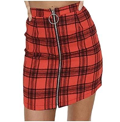 NestYu Women Nightclub Style Fit Plaid Short Fashion Zip-Up Pencil Skirt