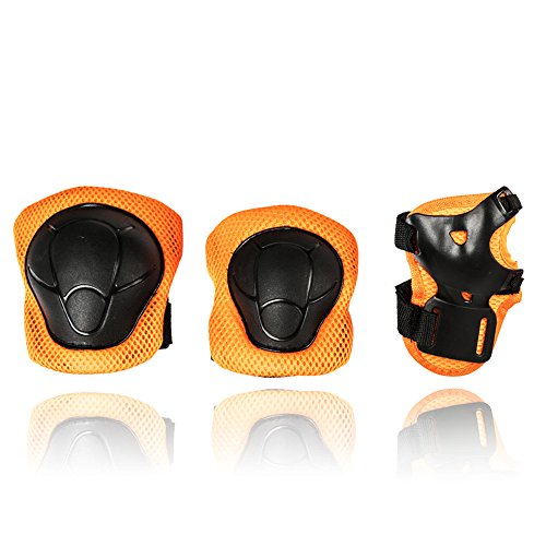 Price comparison product image eNilecor Kid's Knee Pads Elbow Pads Wrist Guards for Skateboarding Cycling Inline Skating Roller Blading Protective Gear Pack of 6 (Black/Orange)