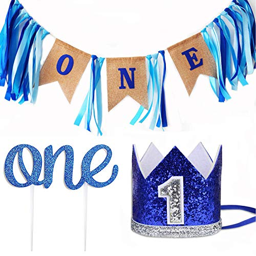 Leedemore Baby 1st Birthday Boy Decorations Crown - Baby Boy First Birthday Decorations High Chair Banner ONE Burlap Banner, No.1 Crown, Glitter Cake Topper Birthday Party Decorations Supplies (1st Year Birthday Party Ideas For A Boy)