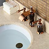 Furesnts Modern home kitchen and Bathroom Sink Taps The Waterfall Faucet Rose Gold Titanium, 3 Hole Wash-Basin Mixer,(Standard G 1/2 universal hose ports)