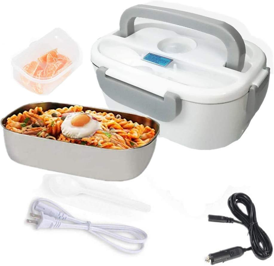 Electric Lunch Box, 2 in 1 Food Heater Car Use 12V and Home Use 110V, Portable Lunch Heater, Removable Stainless Steel Container, Spoon and Compartments Included (Gray)