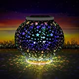 Solar Light, Waterproof Lovely Stars Solar power Night Light, Colour Changing Mosaic Crystal Glass Beside Table Lamp for Party, Christmas, Garden, Outdoor/ Indoor Decorations Gift for Kids or Adults (600)
