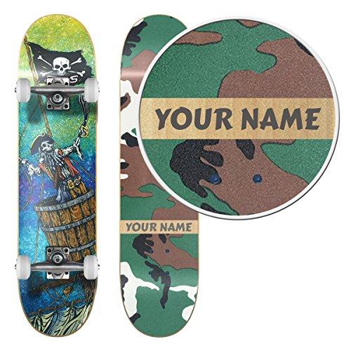 Image of the SkateXS Personalized Beginner Pirate Street Skateboard