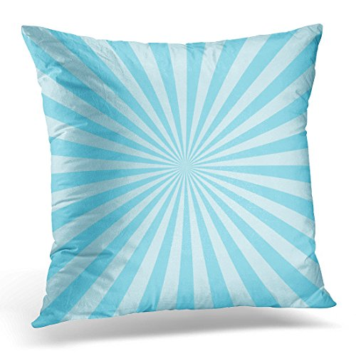 Upoos Throw Pillow Cover Burst Sun Ray Blue Two Tone Colors Abstract Sunburst Beam Decorative Pillow Case Home Decor Square 18X18 Inches Pillowcase