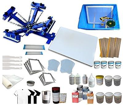 TechTongda Screen Printing Machine 1 Station 4 Color Screen Printing Kit for T-shirt DIY Screen Printing Press