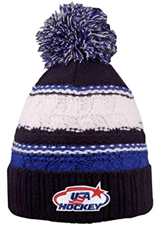 ccbcbb1e1320b Image Unavailable. Image not available for. Color  USA Hockey Blue Striped  Beanie Cap Stocking Knit Hat Winter Sports Ski w Pom