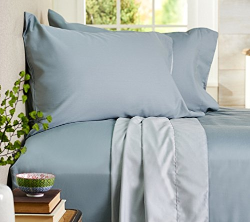 AURAA Comfort 500 Thread Count 100% Long Staple Cotton Sheet Set - REVERSIBLE KING SHEETS -4 Piece Set,Soft & Smooth Sateen Weave,Upto 16