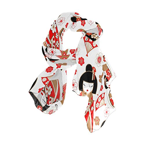 Use4 Japanese Dolls Kokeshi Cherry Blossom Chiffon Silk Scarf Shawl Wrap