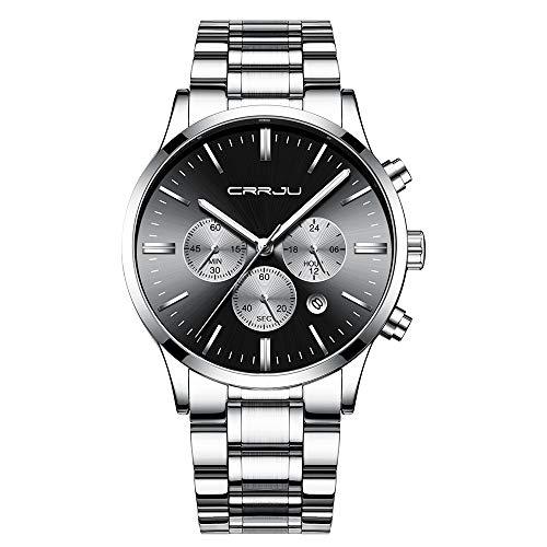 - CRRJU Men's Six-pin Multifunctional Chronograph Wristwatches,Stainsteel Steel Band Waterproof Watch (Silver Black)