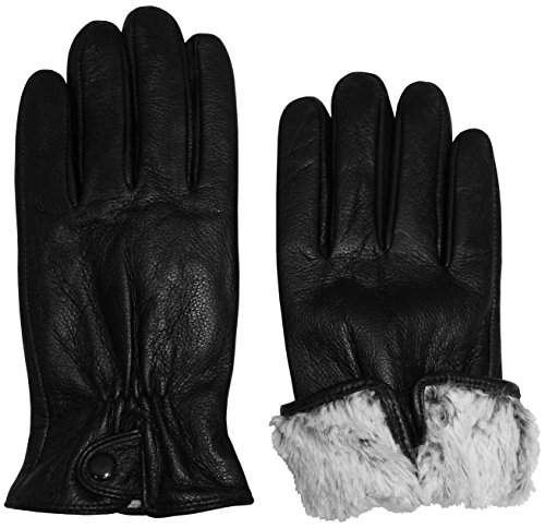 N'Ice Caps Womens and Mens Genuine Kid Leather Gloves With Plush Lining (Women's Medium, Black (Plus Black Gloves)