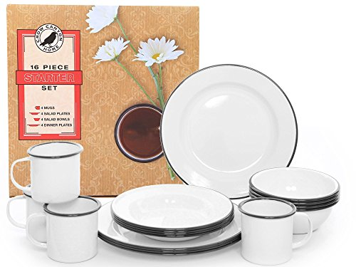 Enamelware 16 Piece Dinnerware Starter Set by Crow Canyon