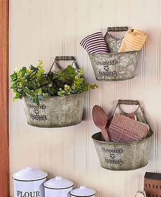 Country Living Set of 3 Wall Buckets Rustic Primitive Kitchen Bathroom Storage (Country Bathroom Decor Sets)