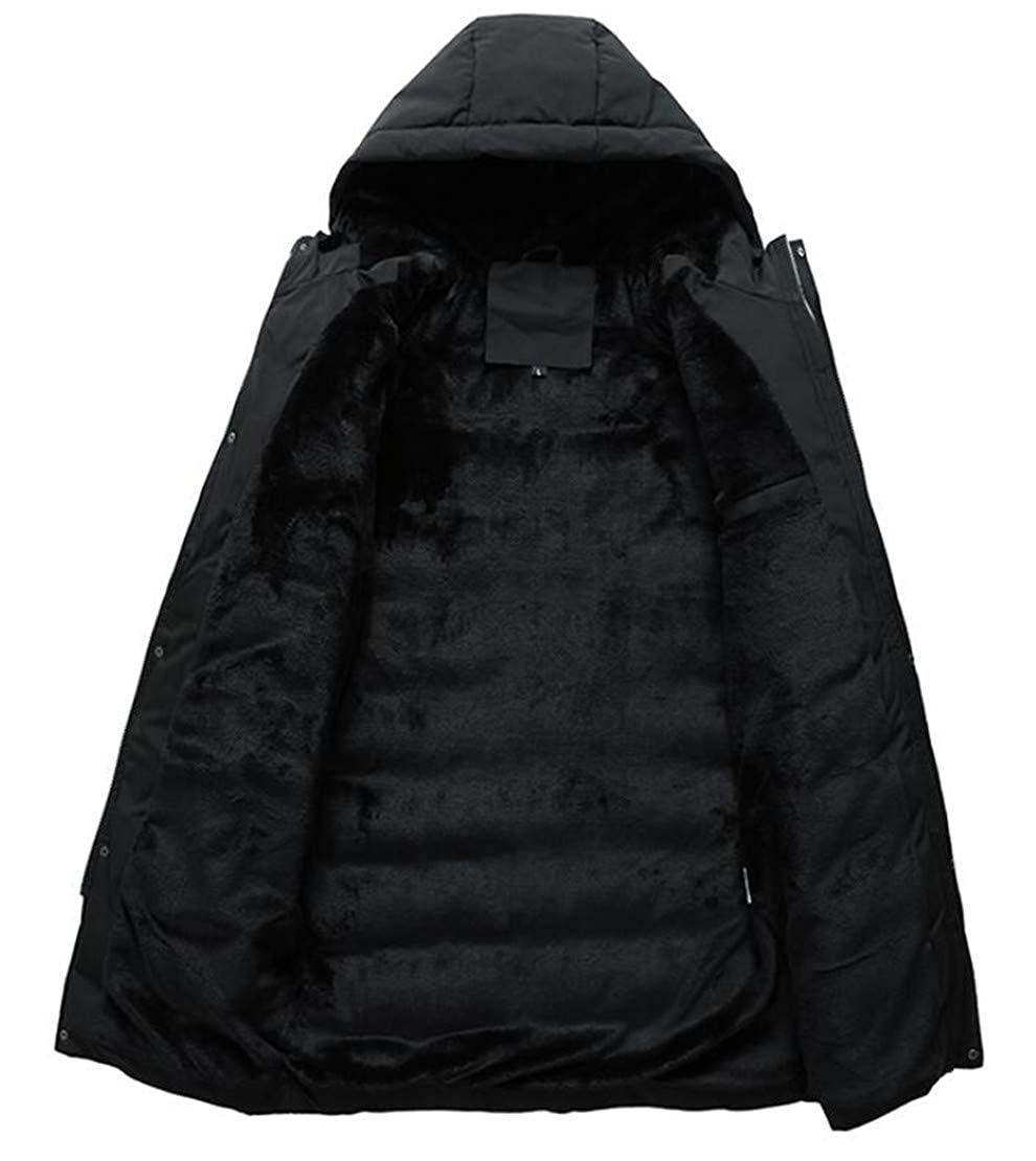 YYear Men Hooded Zip-Up Thicken Quilted Stand Collar Outwear Long Down Jacket