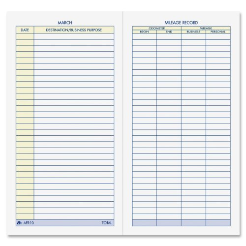 Mileage Expense Log - Adams Vehicle Mileage Journal, , 3.25 x 6.25 Inches, White (AFR10)