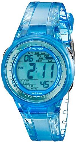 Armitron Sport Women's 45/7051BLU Digital Light Blue Clear Jelly-Strap Watch