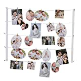 Gift Garden Hanging Picture Frame Photo Display With 30 Clips & Adjustable Twines - Multi Artworks Prints Collage Pictures Organizer & DIY Wall Decor