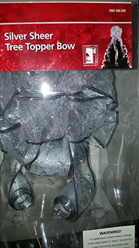 Metallic Silver Snowflakes on sheer white 2.5 inch ribbon Christmas Tree Topper Bow - 12