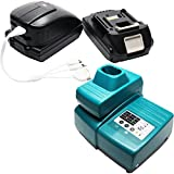2 Replacement Makita BDA350 Battery, 1 Charger, 1 USB Power Source & Multiple USB Cable - For Makita 18V Lithium-Ion Power Tool Battery (1500mAh, Lithium-Ion)