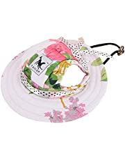 Small Pet Princess Cap, Outdoor Doggie Cat Leisure Sunblock Protection Hat Visor, Summer Puppy Dog Casual Sports Oxford Fabric Canvas Outfit with Ear Holes and Adjustable Neck String