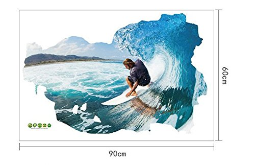 Homespun Surf Sea Extreme Sports Surfing 3D Wall Paper 60 x 90 Cm Set Of 3 Piece Wall Print PVC Home Decor Design Gift Birthday - Blue Surfing Wallpaper