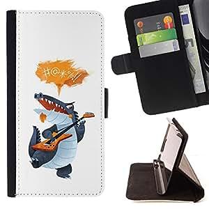 BullDog Case - FOR/LG G3 / - / CROCODILE CARTOON CHARACTER GUITAR SINGING /- Monedero de cuero de la PU Llevar cubierta de la caja con el ID Credit Card Slots Flip funda de cuer