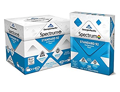 Georgia-Pacific Spectrum Standard 92 Multipurpose Paper 8.5 x 11 Inches (991316), 4 Pack (5 Reams)