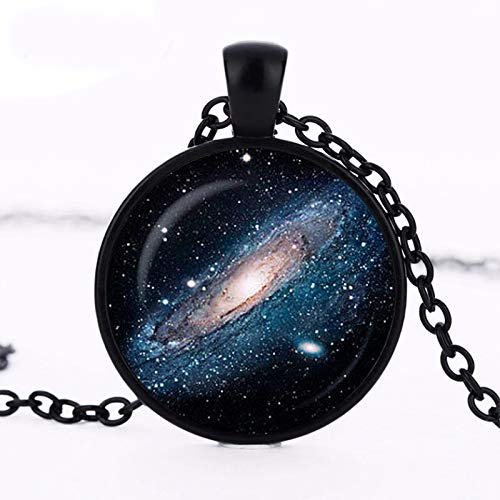- Vintage Spiral Nebula Pendant The Pinwheel Galaxy Necklace Silver Plated Universe Jewelry Art Print Pendant Material:Alloy;Color: Black