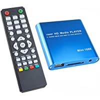 AGPtek® 1080P Full-HD Portable Digital Media Player for USB Drives and SD/SDHC Cards with Remote Control - Blue