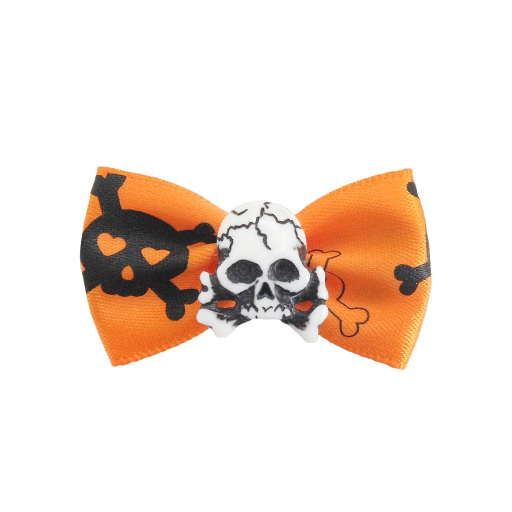 100PCs Handmade Dog Bow Tie Celebrate Halloween Super Skull
